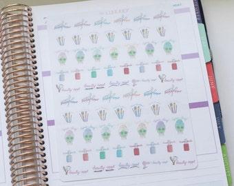 Hand Drawn Beauty Appointment sampler planner stickers, Perfect for Erin Condren, Happy Planner, Kikki K, Plum Paper, Filofax, inkwell press