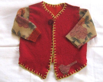 baby girl . baby girl wool cardigan . made from repurposed sweaters . felted sweater . baby girl sweater