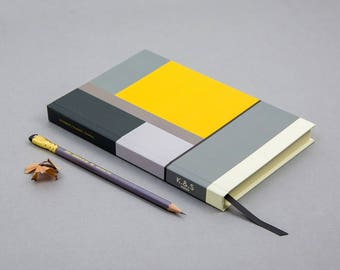 Yellow and Green Blocks Notebook - A5 Size - 200 Luxury Pages