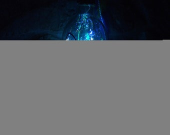 Painted Mardi Gras Butterfly Mask Wine Bottle Light ~ Rhinestones ~ Feathers ~ Fleur De Lis ~ USB 60 LED Colorful Multifunction Fairy Light