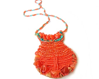 Orange Bead Embroidered Purse, Kids purse in handmade, beaded accessories, Kids pendant, Embroidery wallet,  Beaded purse Coupon codes