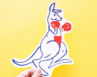 Kangaroo Big Individual WATERPROOF Sticker - Vinyl Stickers -Hand Drawn Sticker - Handmade Sticker