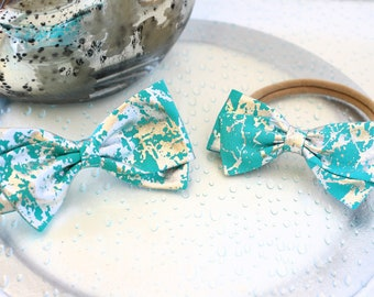 Turquoise Hair Bow - Metallic Hair Bow - Large or Small Hair Bows For Girls