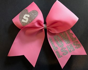 Cheer 2 color glitter with Heart and customizable team name or initials