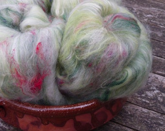Hand Carded Batts, 95g total, spinning wool, merino, bluefaced leicester, soy silk, sari silk, green, multi, textured batts