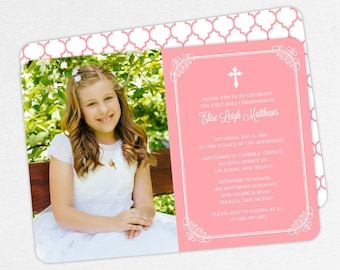 First Communion Invitation, First Holy Communion Invitation, Photo Communion Invitation, DIY Invite, PDF Invitation, Pink, Printable, Elise