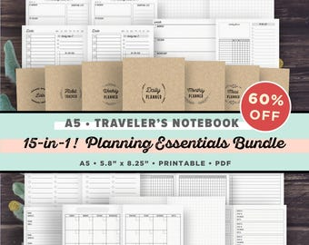 Travelers Notebook A5 Inserts, Printable-Planning Essentials Bundle- 15 ITEMS in 1