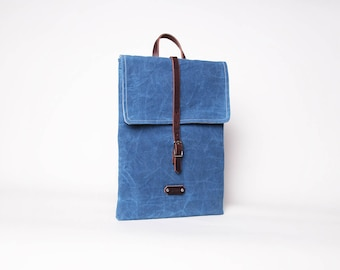 Waxed Canvas Leather Laptop Case | Waxed Canvas Laptop Sleeve | Blue Canvas Laptop Case | Minimalist Laptop Sleeve | Waxed Canvas Bag