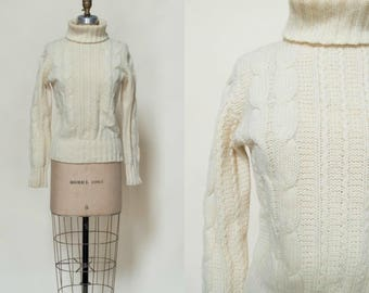 Vintage Cable Knit Sweater --- 1970s Cream Sweater