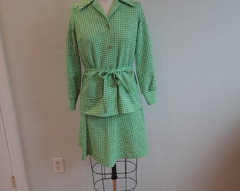 1970's Green Checkered Suit