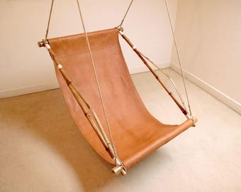 Hanging Chair, Swinging Chair, Boheme chic - Made of leather, bamboo and hemp rope