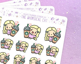Frappe Coffee Planner Stickers, Chocolate Frappe Stickers, Iced Coffee Stickers, Kawaii Coffee Stickers, Coffee Planner Stickers