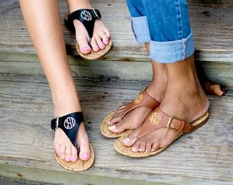 Monogrammed Sandals - Black and Brown