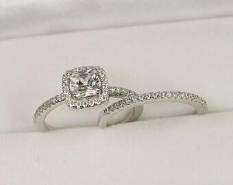 Halo Engagement Ring, Wedding Ring Set, Sterling Silver Wedding Ring, Cushion Cut Ring, Princess Cut Ring, Small Ring