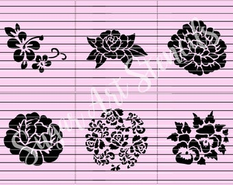 flowers stencils set of 6 designs  SL20203