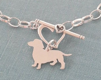 Dachshund Chain Bracelet, Sterling Silver Personalize Doxie Pendant, Breed Silhouette Charm, Rescue Shelter, Gift Idea