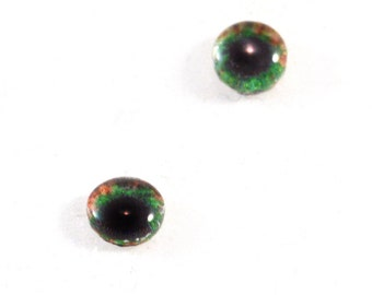 6mm Brown and Green Glass Eye Cabochons - Taxidermy Eyes for Doll or Jewelry Making - Set of 2