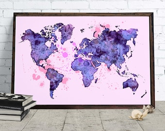 World map decor etsy watercolor world map decor downloadable watercolor art blue home and office poster wanderlust gumiabroncs Image collections