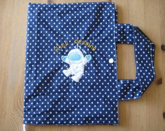 "Traveler artist starry cotton ""Mr Cosmonaute"" bag"
