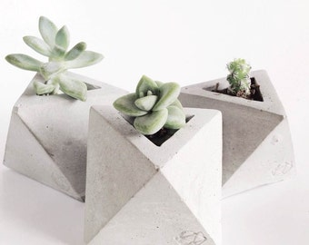 Concrete Geometric Original mini octahedron vessel