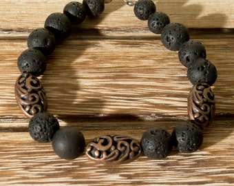 Lava and Brown Filigree Beaded Bracelet with