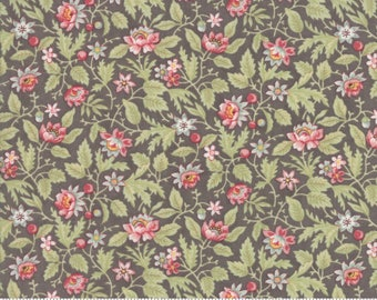 Poetry Fabric - Moda Fabric - Half Yard - Floral Flowerbed Charcoal Gray Grey Small Scale Flowers Roses Red 3 Sisters Fabric 44134 12