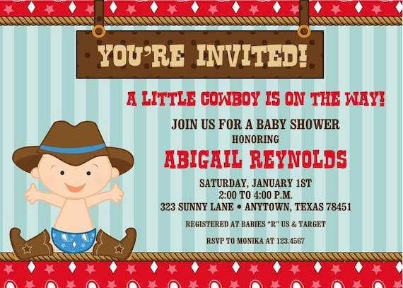 Little cowboy baby shower invitations filmwisefo Images