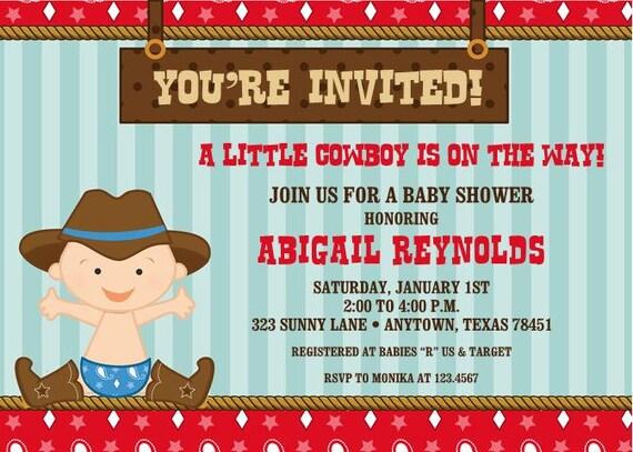 Little Cowboy Baby Shower Invitations