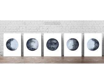 Moon Phases set 5 Illustration Navy Blue Modern Wall Decor Minimalist Lunar Phase Art Print, Full Moon Waxing Crescent Gibbous Waning Poster