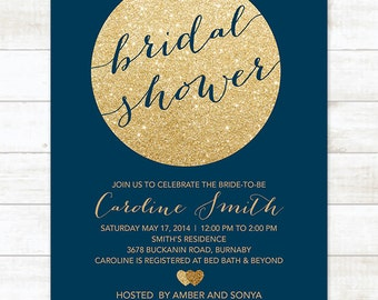 Couples wedding shower invitation navy and gold printable gold navy bridal shower invitation navy gold glitter printable modern bridal shower digital invite filmwisefo Images