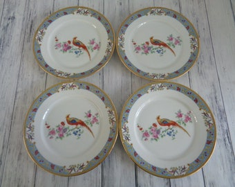Antique China Pheasant Bird Pattern Plates Set of Four Luncheon Salad Size Excellent & Bird pattern china | Etsy
