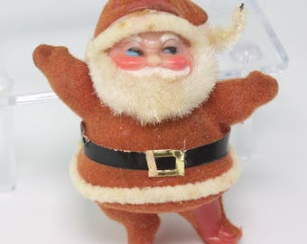 Vintage Flocked Mini Santa Claus with Celluloid Face Mid-Century