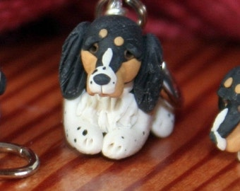 Tri Colored English Springer Spaniel Stitch Markers Miniature Sculpted Dog Breed Polymer Clay Knitting Crochet Tool set of 4