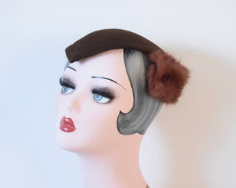 1940's Brown Widows Peak Headpiece | Hoot Hat