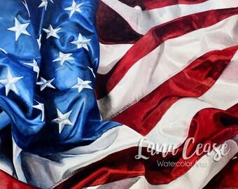 "American Flag - ""Grandeur"" - Art Watercolor giclee 11x14 print"