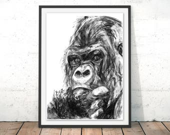 Gorilla Art Print Gorilla Wall Art Ape Charcoal Illustration Gorilla Black and White Ape Home Decor Gorilla Jungle Animal Print by Bex
