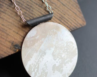 Japanese Inspired Long Sterling Necklace- Free Shipping, silver necklace, patina necklace, sterling silver