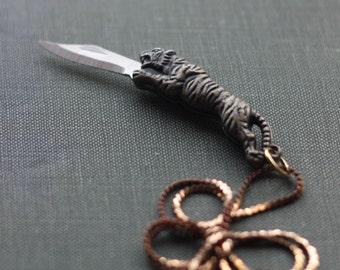 Tiger Pocket Knife Necklace
