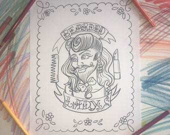 Bearded Lady coloring print.