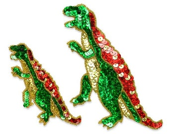 Expo 2 Piece Terry T-Rex Dinosaur Sequin Applique Set