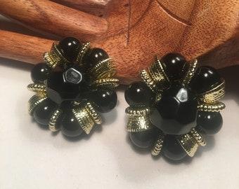 Vintage spastic Black & Gold Beaded Clip On Earrings