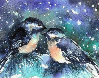 Chickadee's Birds,Cold Snowy Winter Night Outside, Perched on Pine Tree Pine Fine Art Watercolor Print by Janet Dosenberry