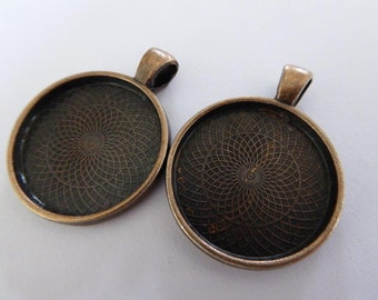 10 x Copper 25mm (1 inch) pendant trays