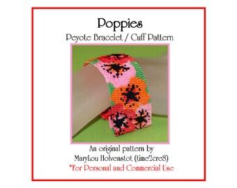 Peyote Bracelet Pattern ... POPPIES ... Flowery Cuff . Floral . Pink . Red . Orange . Flowers . Spring Fashion . Summer . Pretty . 3 for 2