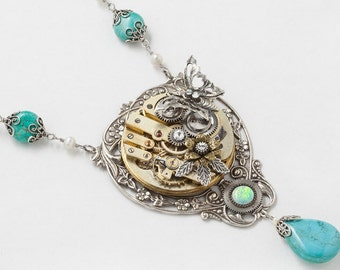 Steampunk Necklace, Silver Turquoise Necklace with Vintage Gold Pocket Watch, Opal, Crystal, Pearl, Butterfly & Filigree Leaf Jewelry Gift