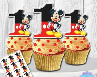 PRINTABLE Mickey Mouse Cupcake Toppers, Cupcake Picks INSTANT DOWNLOAD, You Print
