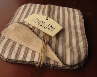 4 x Cloth Wipes - perfect for baby - nappy change or bath time - MCN - flannelette and microfleece - brown and beige stripes - unisex