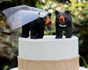 Bear Wedding Cake Topper: Handcarved Wooden Black Bear Bride and Groom Cake Topper