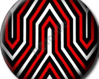 """Cabochon resin 25 mm - stick """"Red black white""""-(144)"""