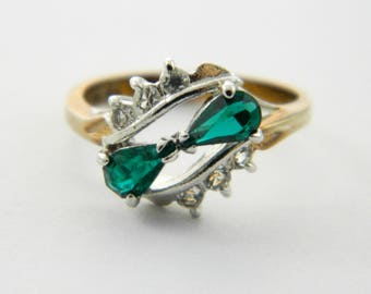 Vintage 14kt Goldplated Emerald Pear Duo Ring - VGE310